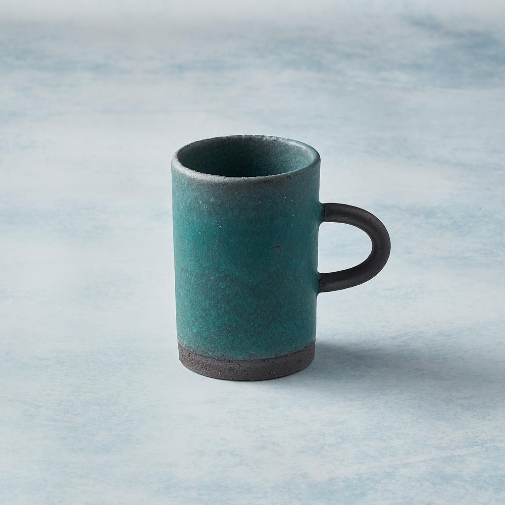 日本KOYO美濃燒|圓柄直筒馬克杯 - 青綠