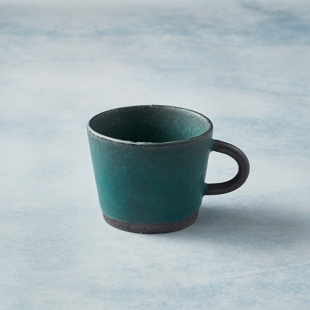 日本KOYO美濃燒 寬口圓柄馬克杯 - 青綠