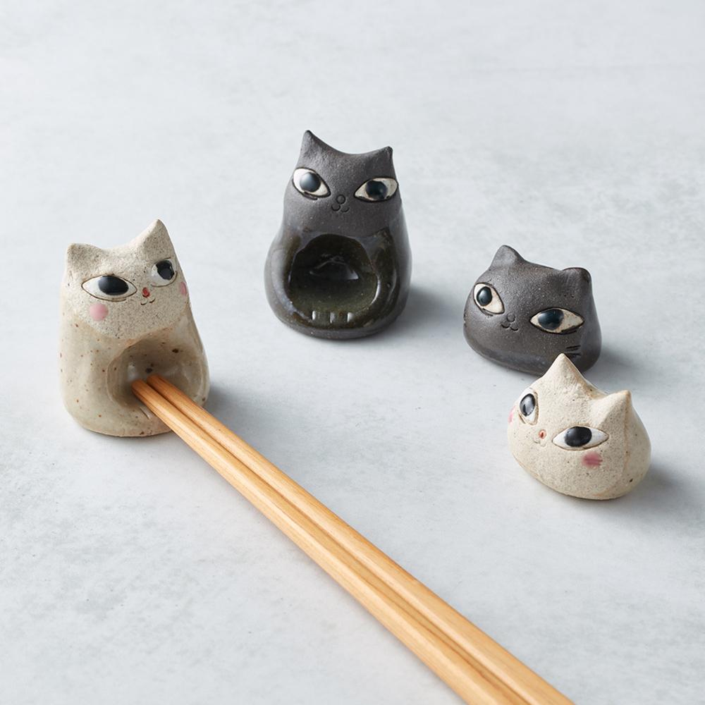 日本KOYO美濃燒|陶製手作筷架 - 貓咪們4件組