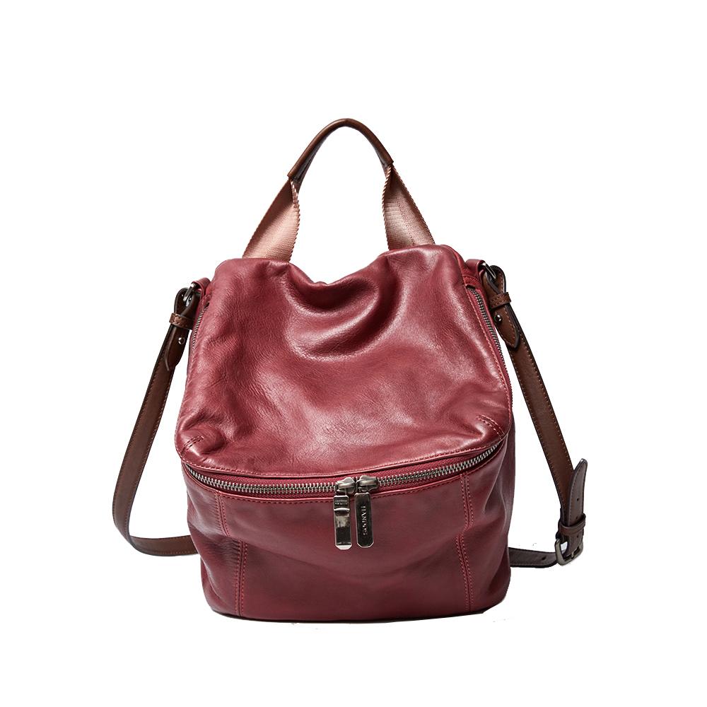 HANDOS New Pimm's 輕便羊皮休閒肩背包 - 紫紅