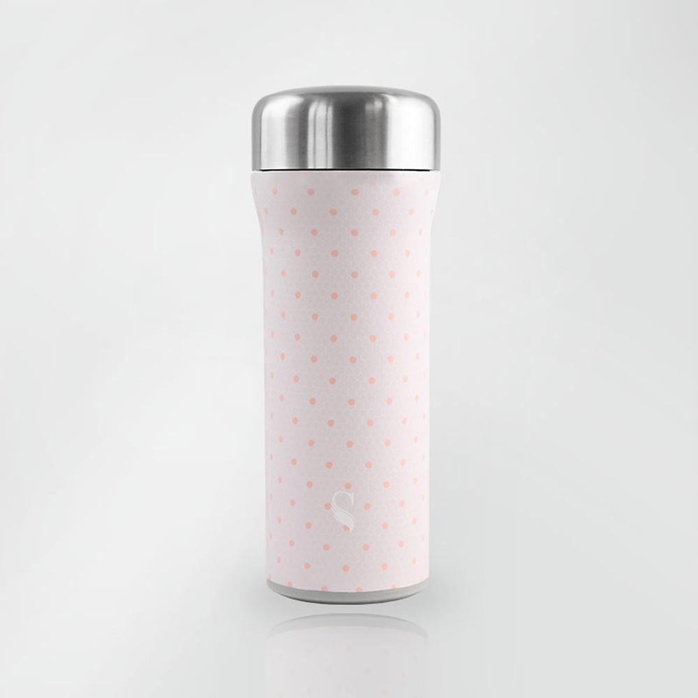 SWANZ|火炬陶瓷保溫杯(設計款)- 430ml - 輕粉格紋
