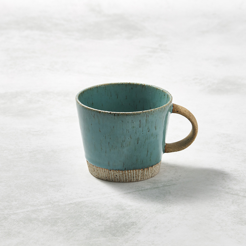 日本KOYO美濃燒 細刻紋馬克杯 - 天藍