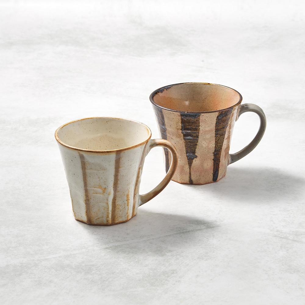 日本KOYO美濃燒 寬耳馬克杯 - 對杯組(2件式)
