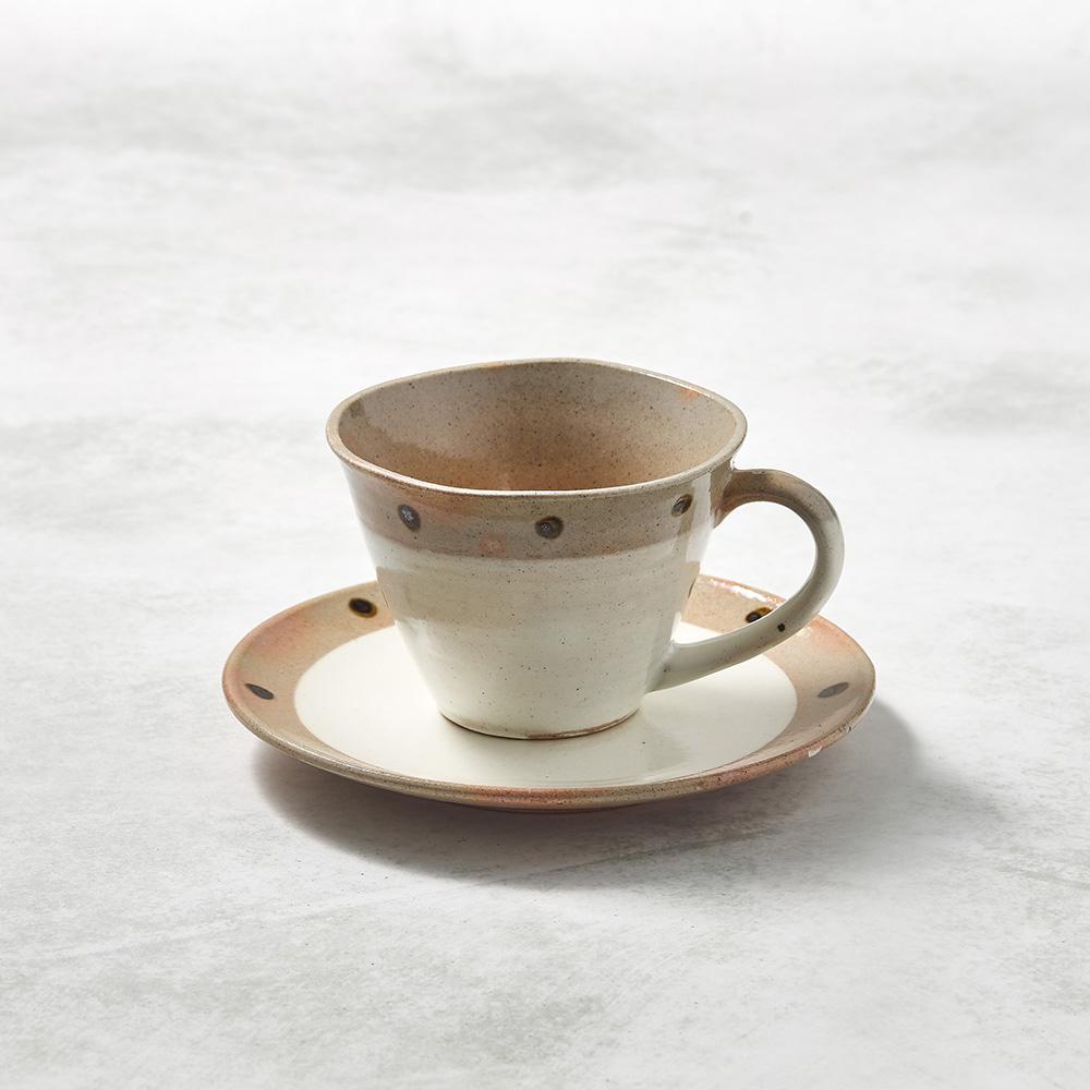 日本KOYO美濃燒|寬口咖啡杯碟組 - 摩卡點點