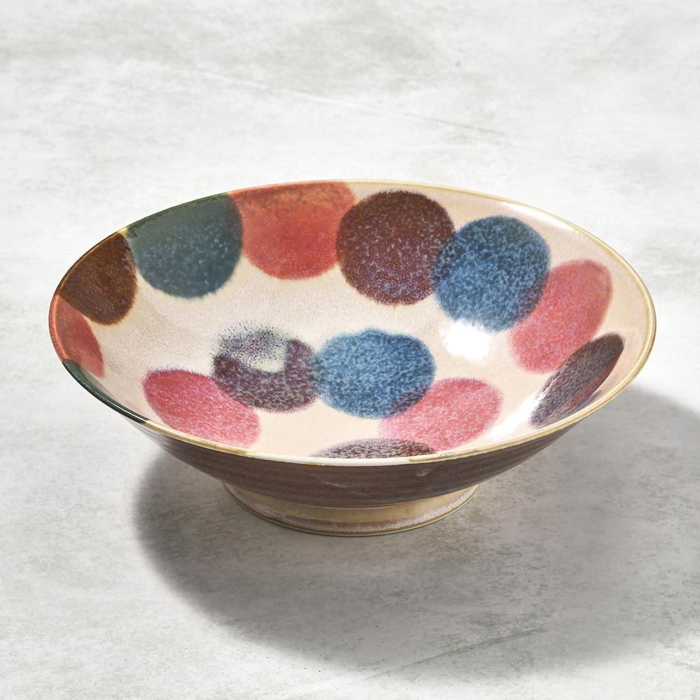 日本AWASAKA美濃燒|筆青釉繪沙拉碗 - 粉點打