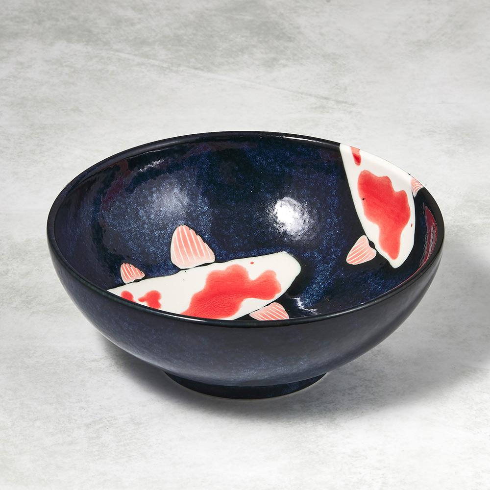 日本AWASAKA美濃燒 彩鯉釉染大碗