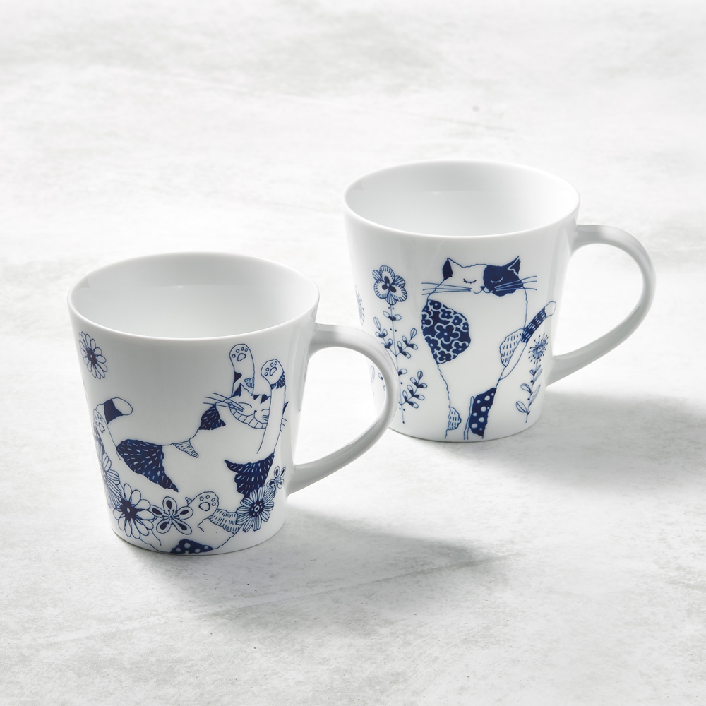 日本澤藍美濃燒|花園藍貓馬克杯-禮盒組(2件式)