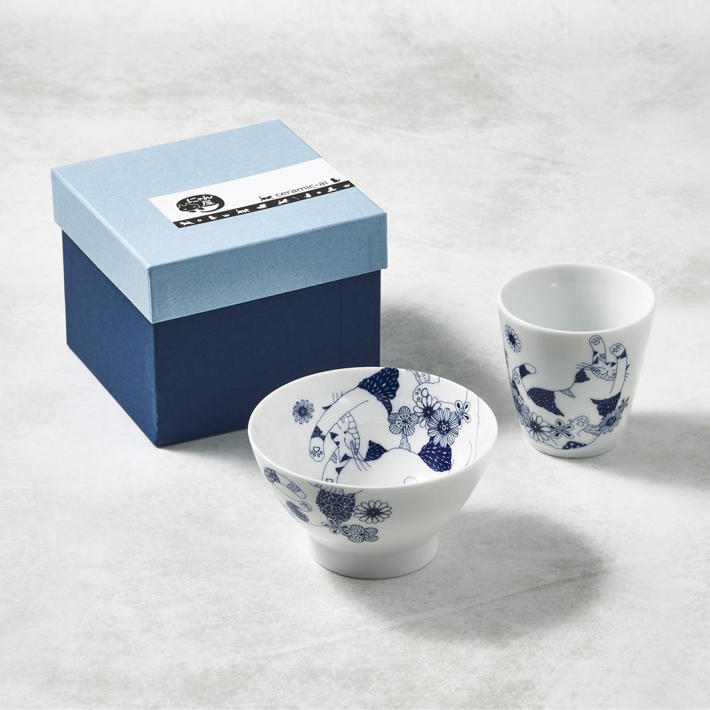 日本澤藍美濃燒|花園藍貓杯碗-禮盒組(2件式)