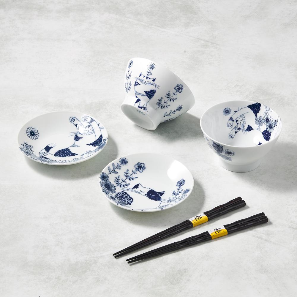 日本澤藍美濃燒|花園藍貓碗盤禮盒組-附筷(6件式)