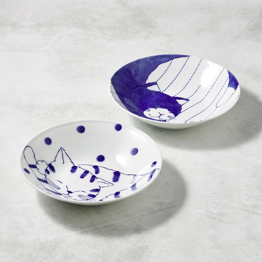日本澤藍美濃燒|仲良貓友大圓盤-禮盒組(2件式)