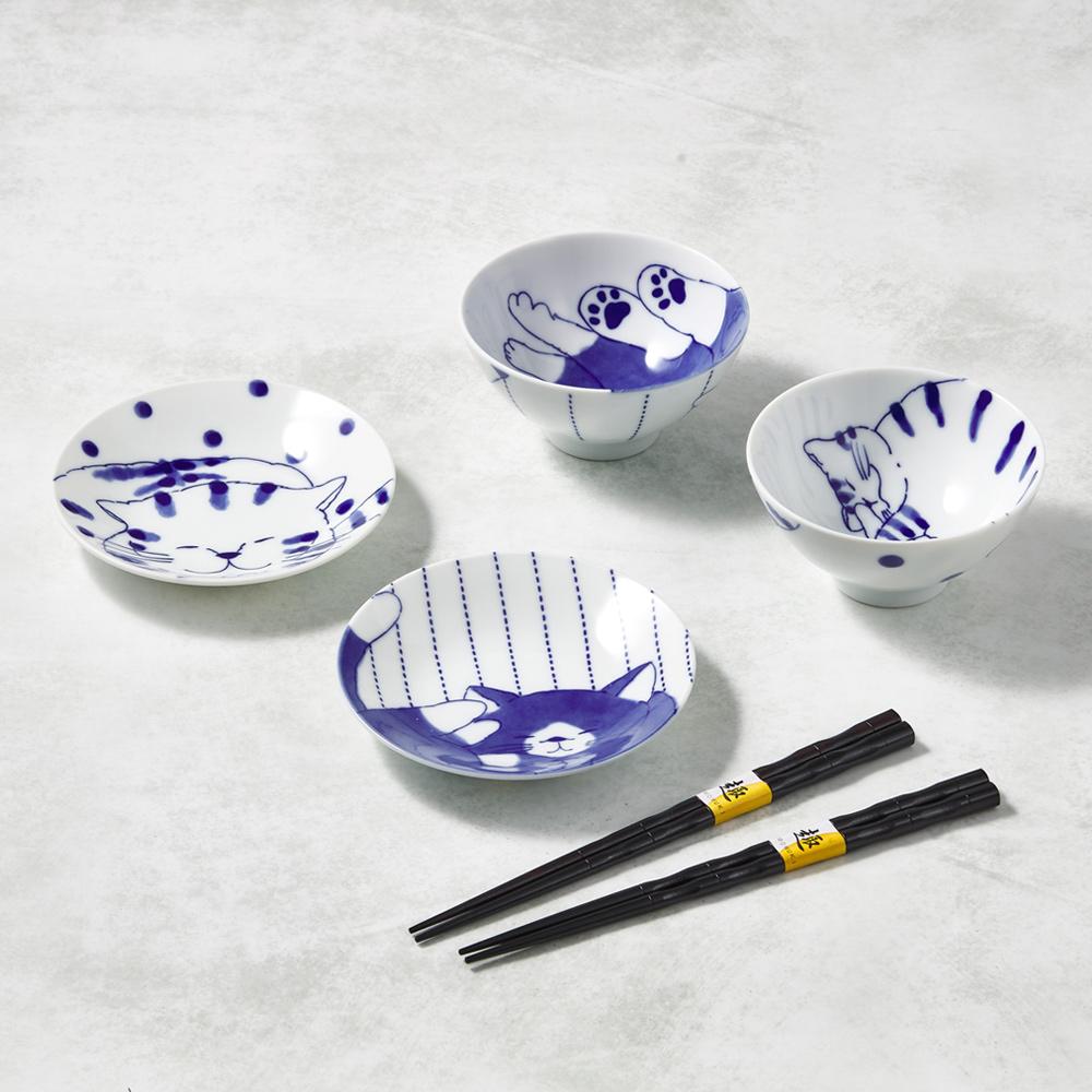 日本澤藍美濃燒|仲良貓友碗盤禮盒組-附筷(6件式)