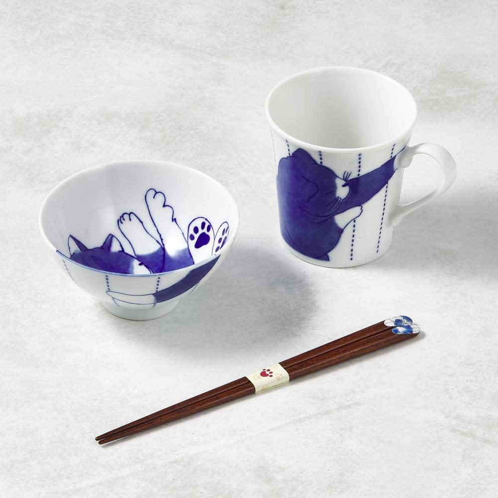 日本澤藍美濃燒|日常杯碗禮盒組-附筷(3件式)-黑貓君
