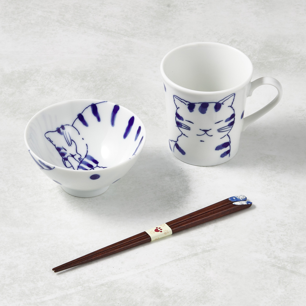 日本澤藍美濃燒|日常杯碗禮盒組-附筷(3件式)-虎貓君