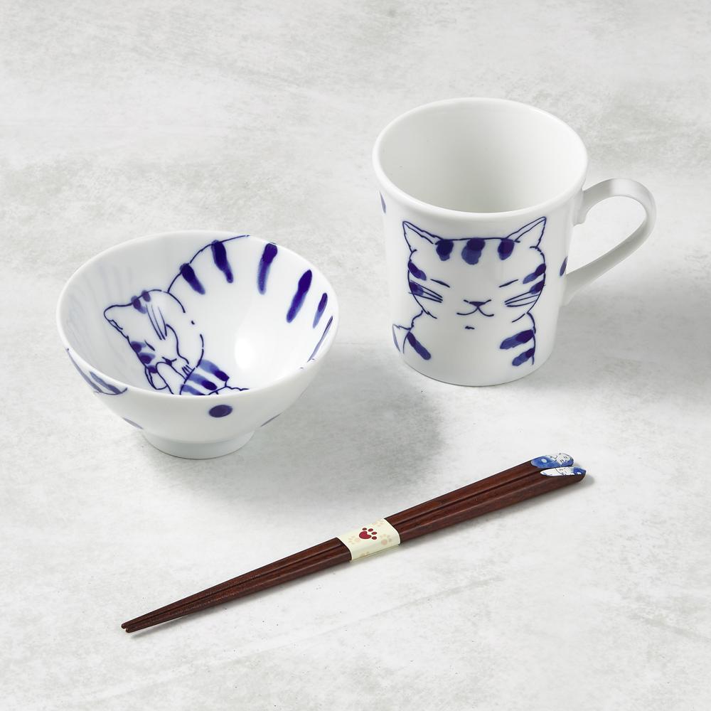 日本澤藍美濃燒 日常杯碗禮盒組-附筷(3件式)-虎貓君