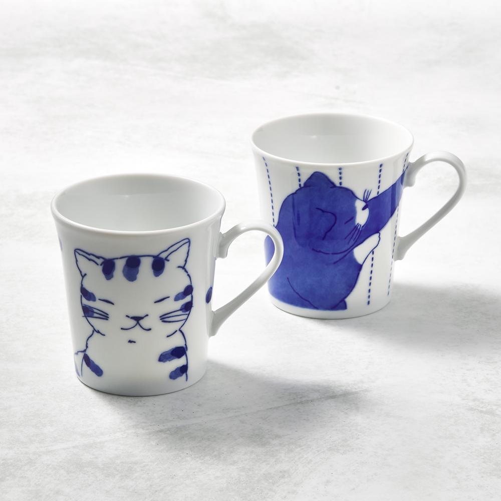日本澤藍美濃燒|仲良貓友馬克對杯組(2件式)