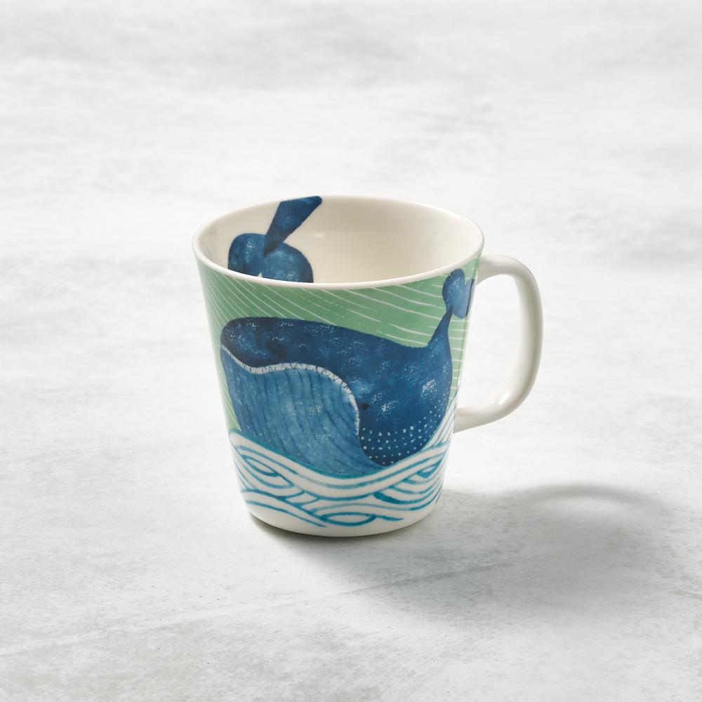 日本澤藍美濃燒|海之島系列馬克杯-悠悠藍鯨