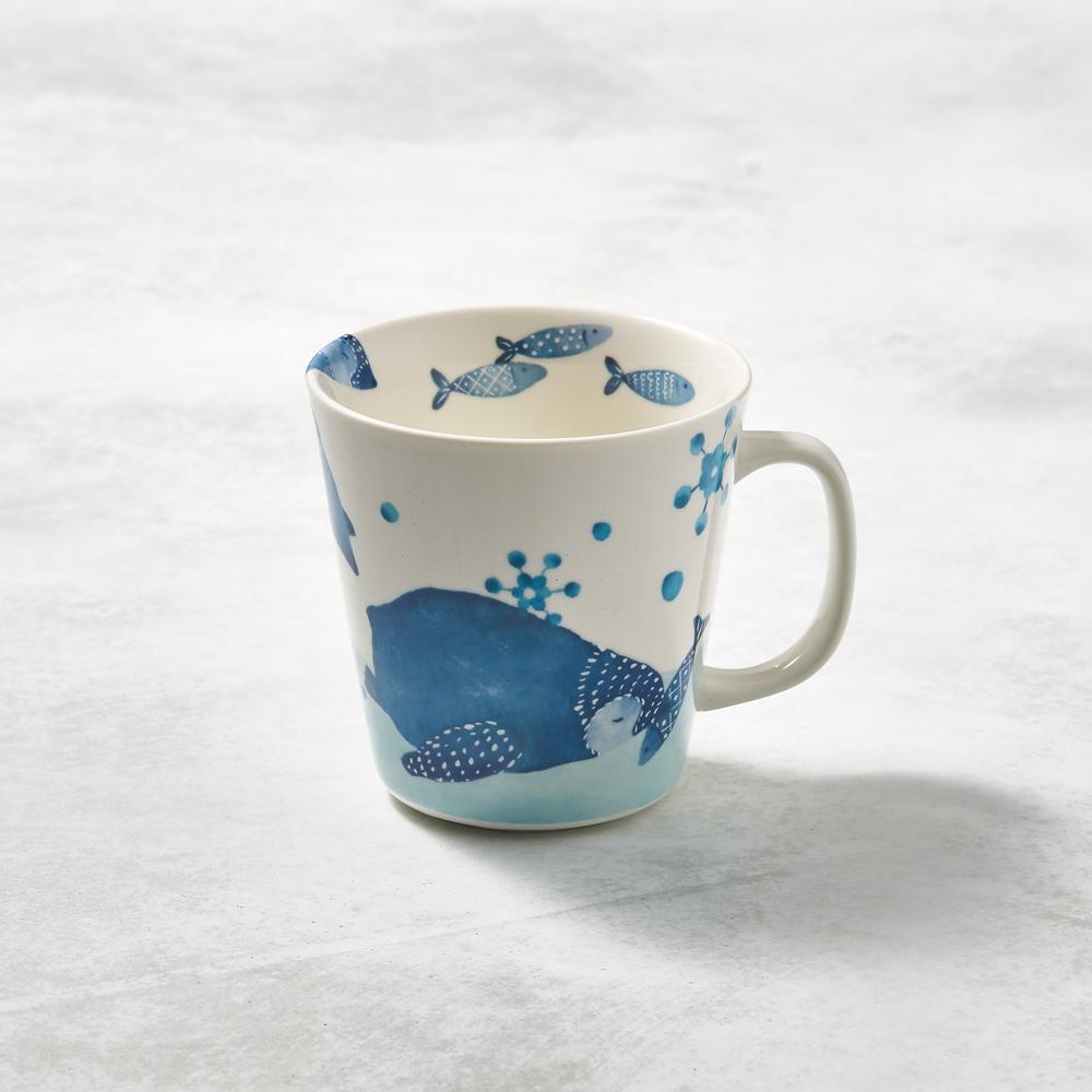日本澤藍美濃燒|海之島系列馬克杯-企鵝滑步
