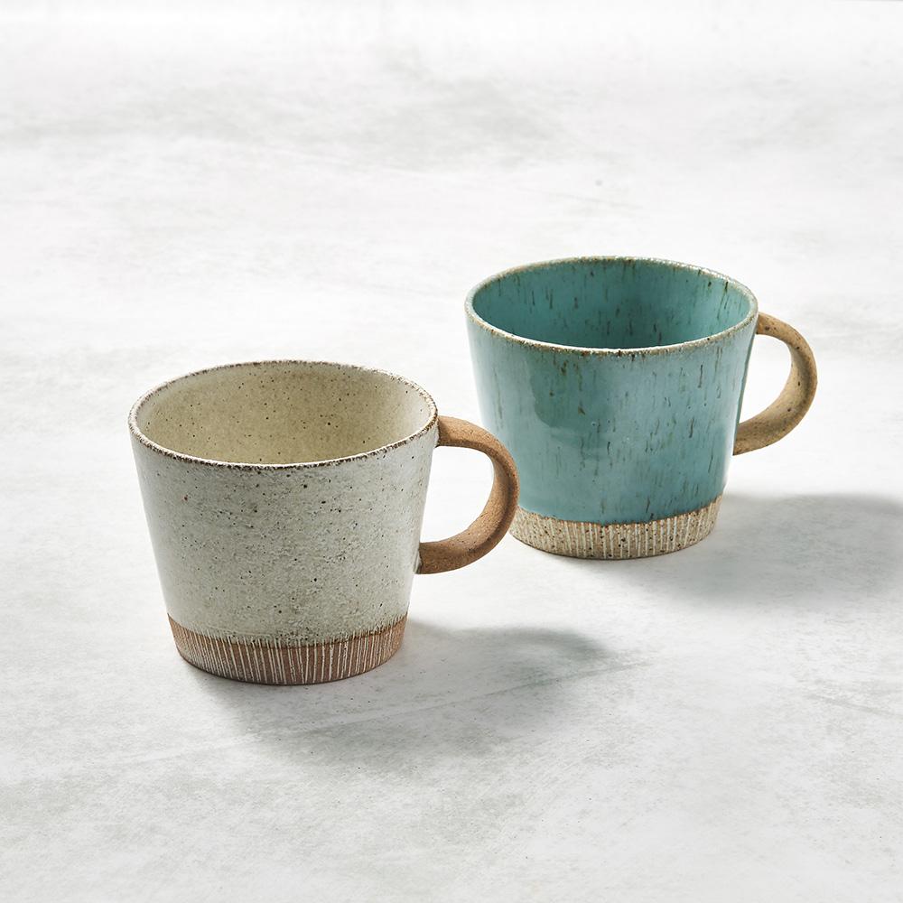日本KOYO美濃燒 細刻紋馬克杯 - 對杯組(2件式)