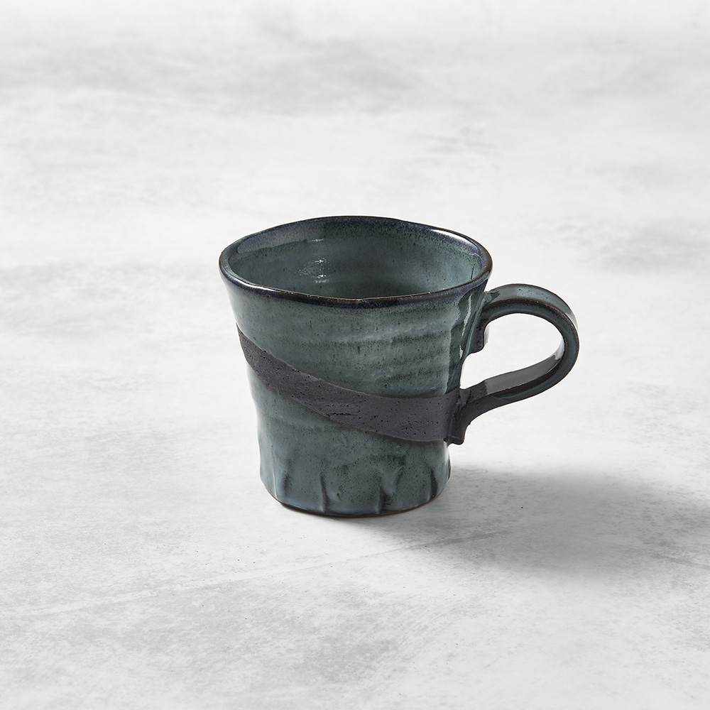 日本KOYO美濃燒|寬口茶杯 - 燻刷痕