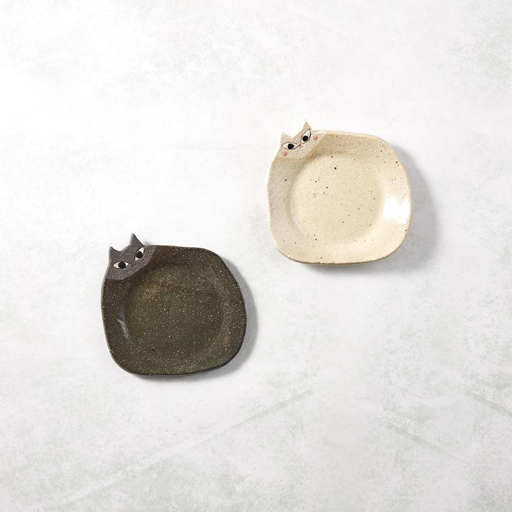 日本KOYO美濃燒|陶製手作筷架 - 喵喵小皿雙件組