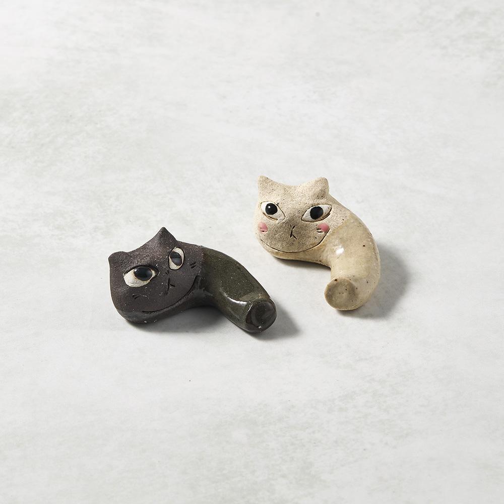 日本KOYO美濃燒|陶製手作筷架 - 貓咪彎彎雙件組