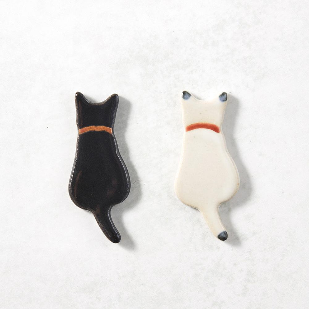 日本KOYO美濃燒|陶製手作筷架 - 黑白喵喵雙件組