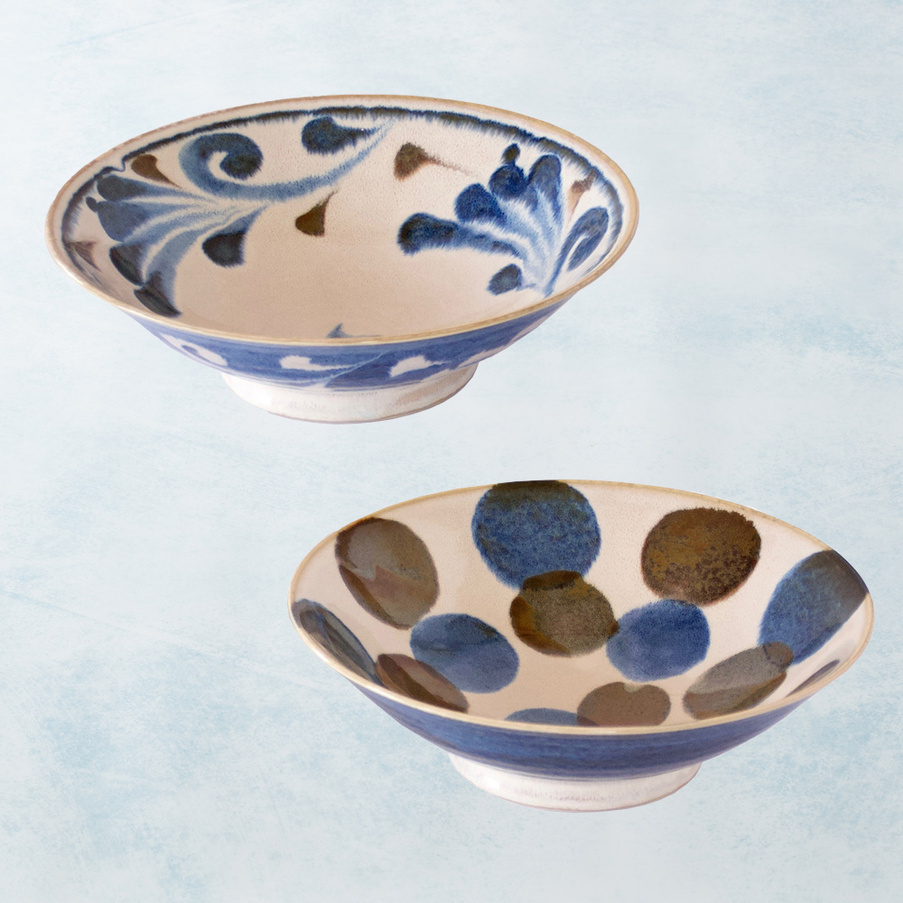 日本AWASAKA美濃燒|筆青釉繪寬口大碗組(2件式)