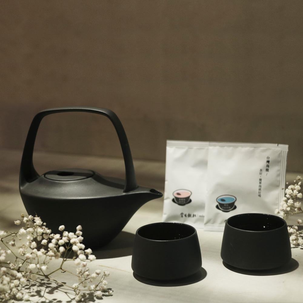 3,co x 掌生穀粒|水波提樑壺(黑)茶包禮盒組