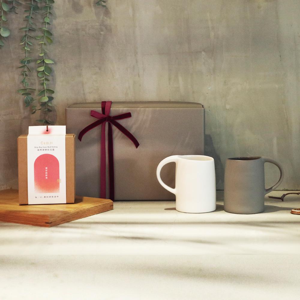 3,co x 掌生穀粒|水波馬克杯(2件式) - (白+灰) 茶包禮盒組