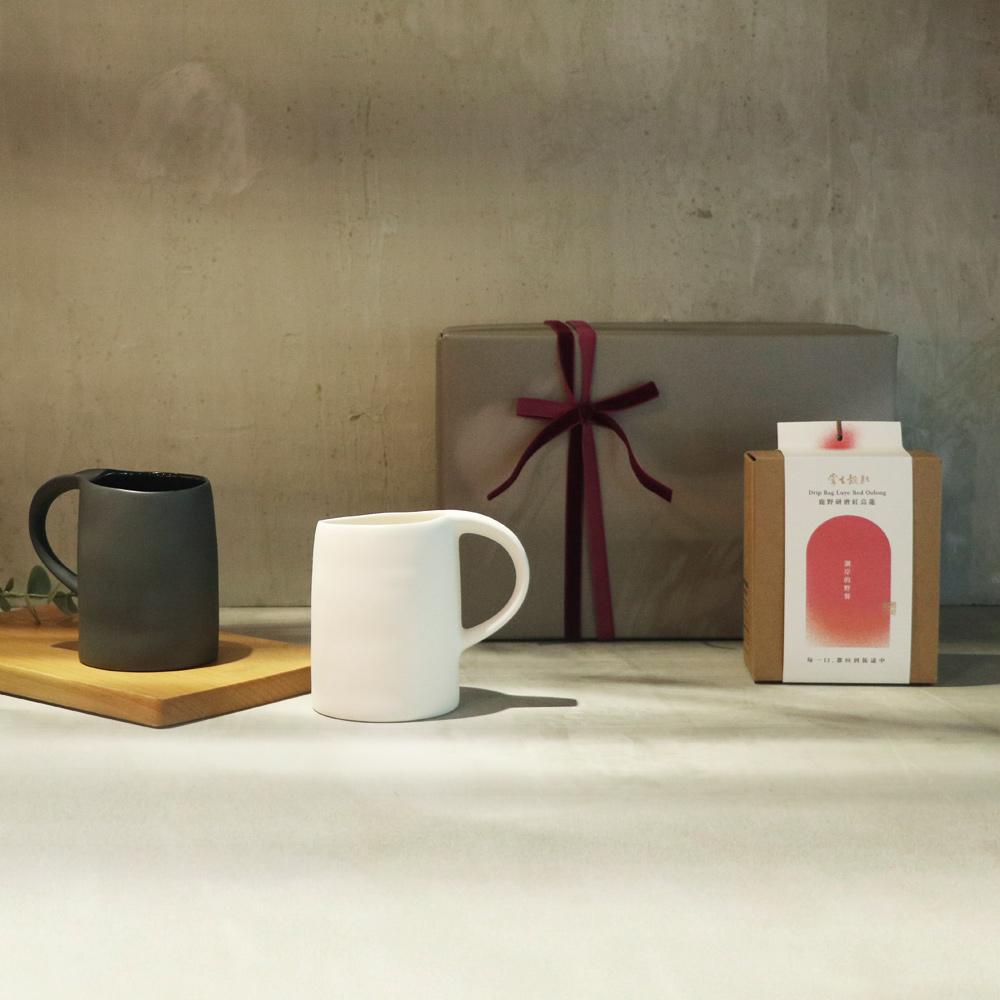 3,co x 掌生穀粒|水波馬克杯(2件式) - (白+黑) 茶包禮盒組