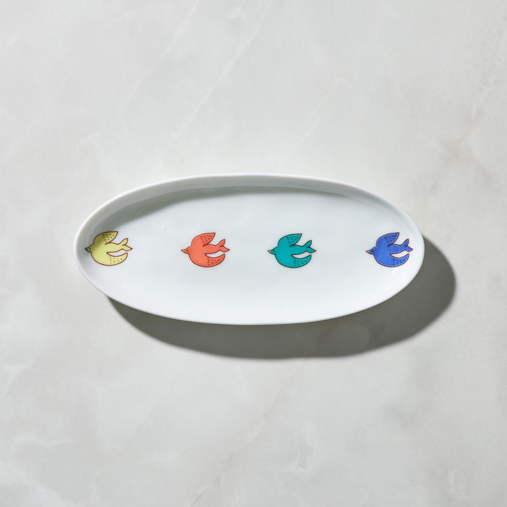 日本晴九谷燒|飛鳥橢圓中盤