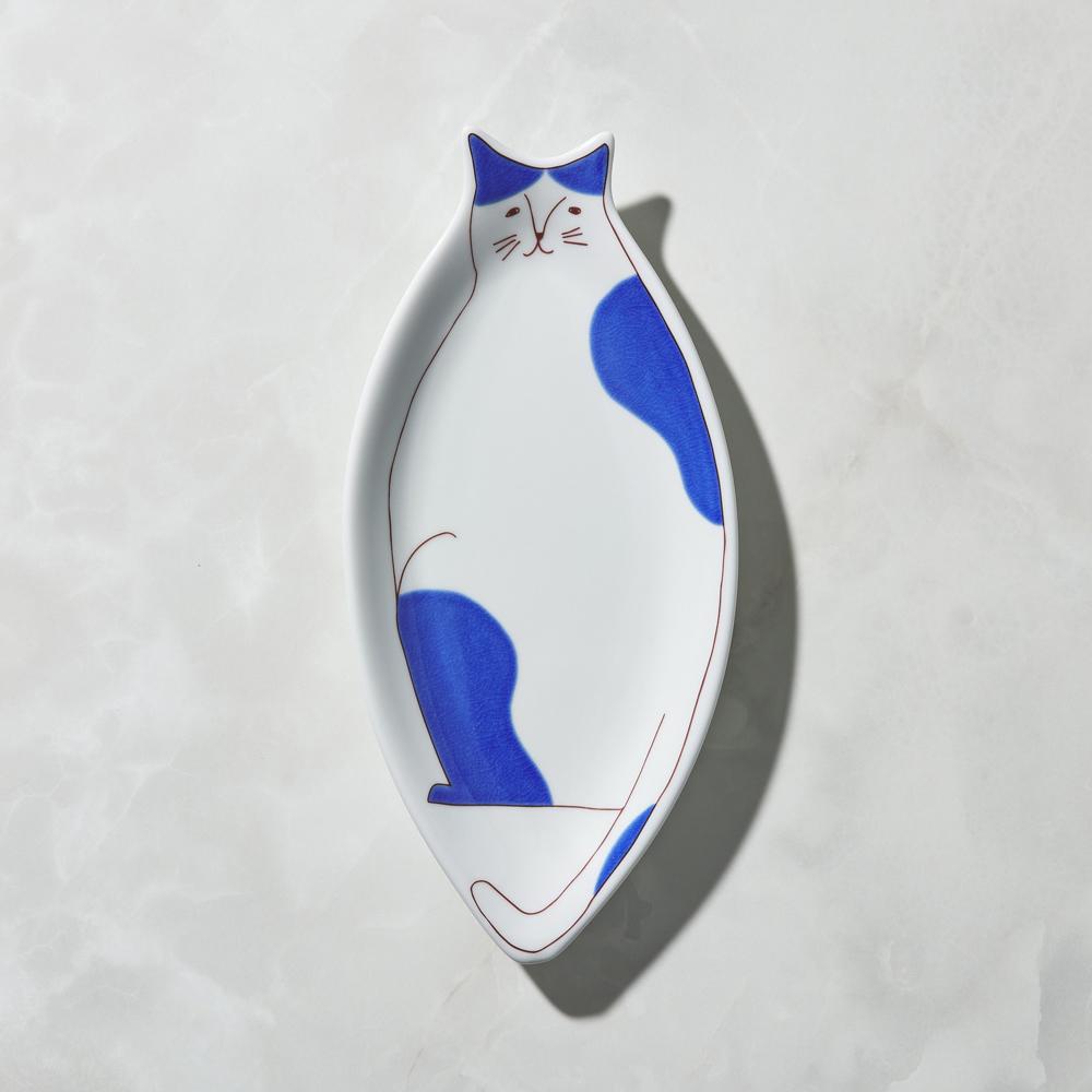 日本晴九谷燒|貓大盤 - 藍乳牛