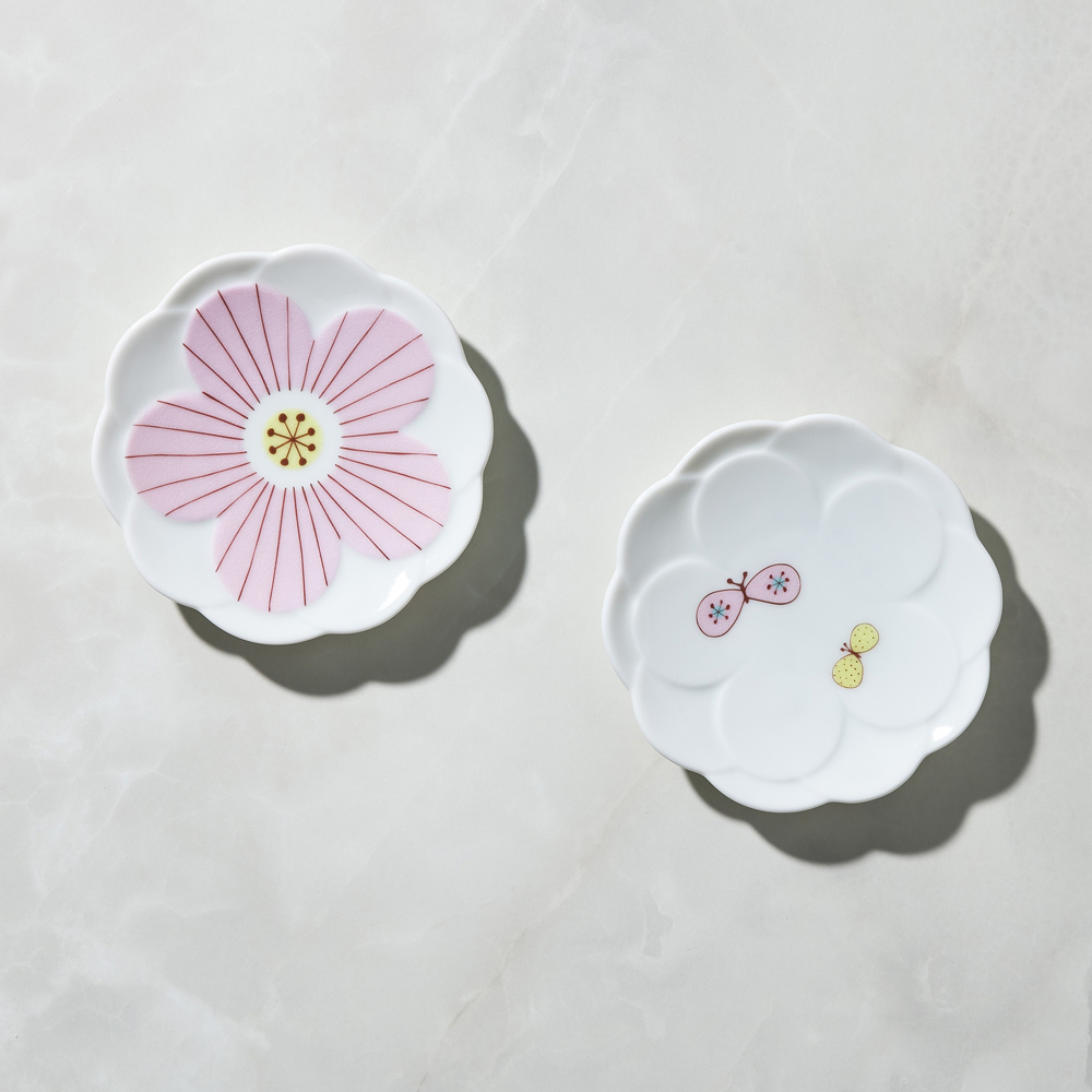 日本晴九谷燒|花見小盤 - 粉(2入組)