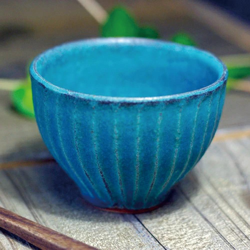 日本窯元益子燒|青綠燻刻紋茶杯