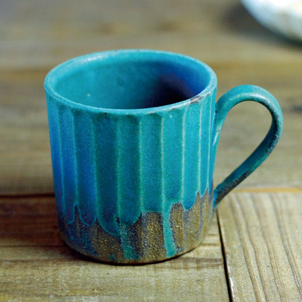 日本窯元益子燒|青綠燻刻紋馬克杯