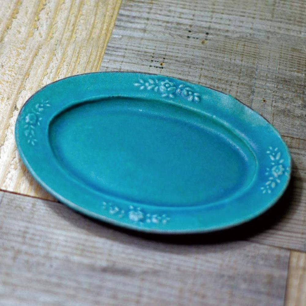 日本窯元益子燒|青綠燻刻紋橢圓花盤