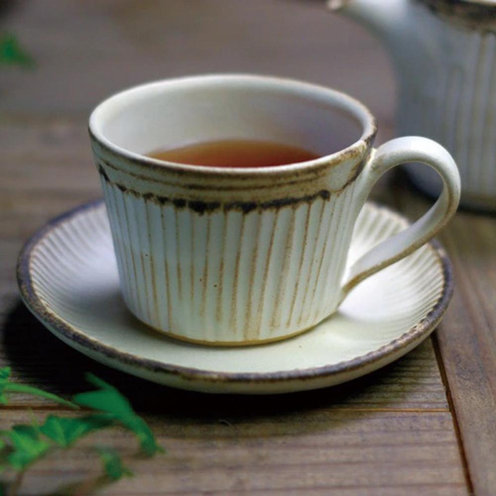 日本窯元益子燒|粉引燻緣紋咖啡杯盤組