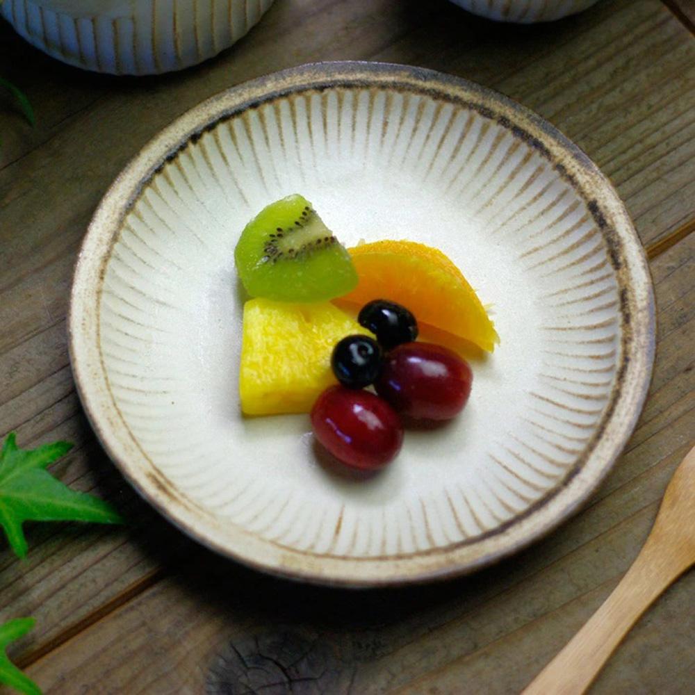 日本窯元益子燒 粉引燻緣紋圓盤