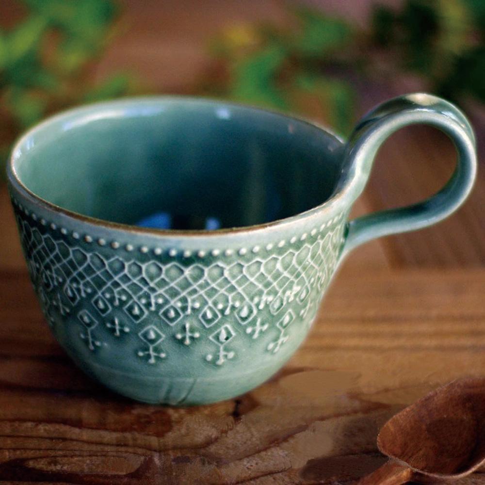 日本窯元益子燒|蕾絲花紋提耳杯 - 灰綠