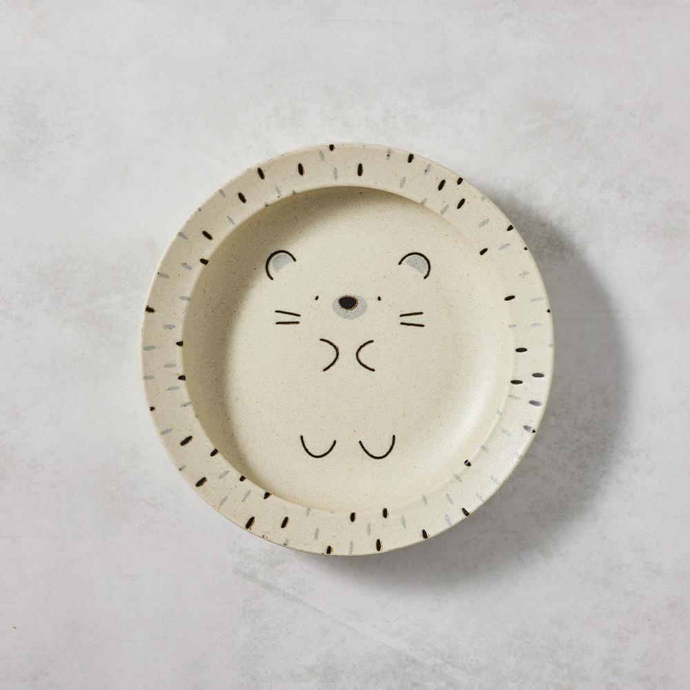 日本AWASAKA美濃燒|默默刺蝟深盤 (22.5cm)