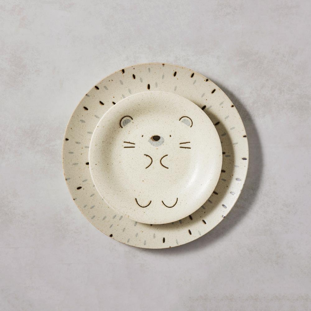 日本AWASAKA美濃燒 默默刺蝟餐盤 - 禮盒組(2件式)