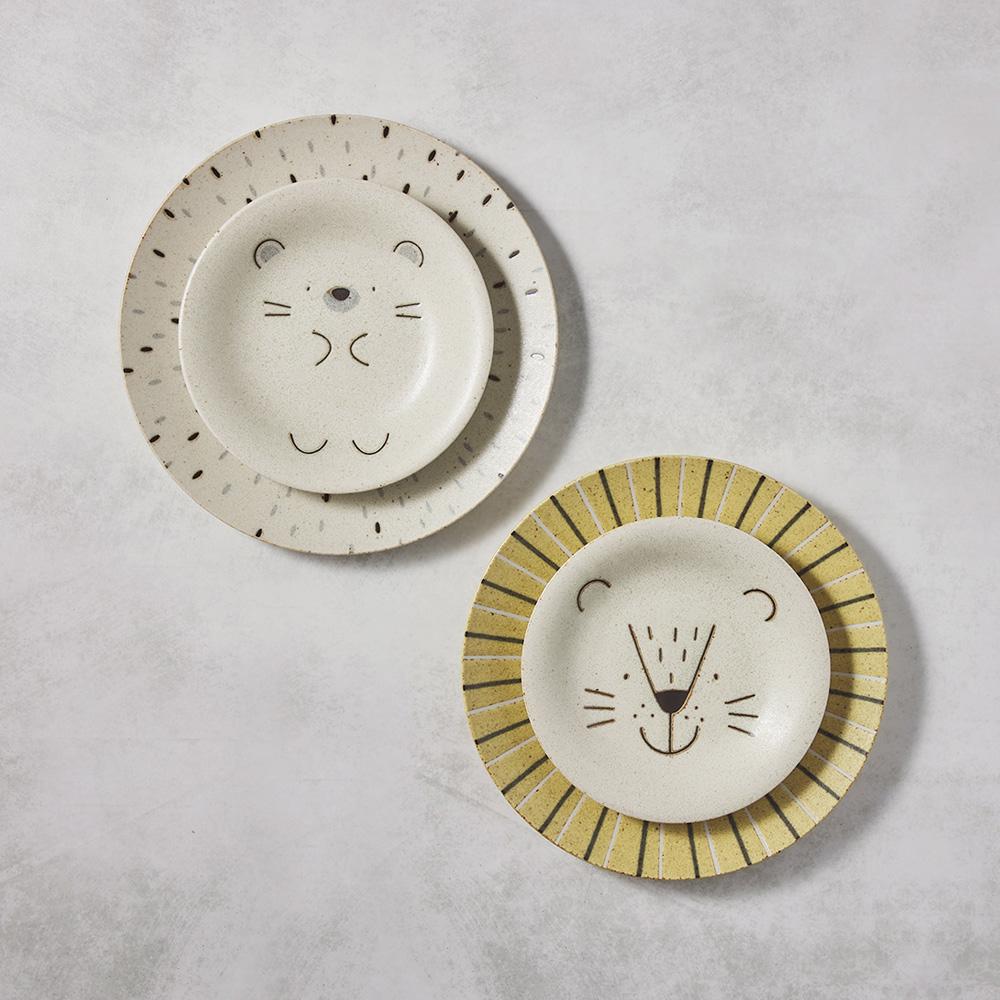 日本AWASAKA美濃燒|獅子與刺蝟餐盤 - 禮盒組(4件式)