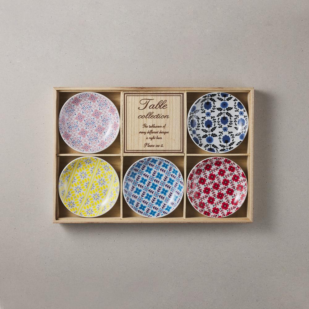 日本小倉陶器|編織小花盤禮盒組(5件式) - 10.2cm