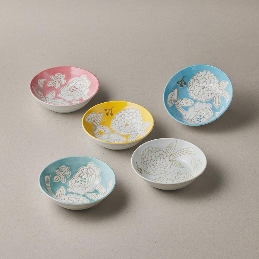 日本小倉陶器 粉染花朵碗禮盒組(5件式) - 13.3cm