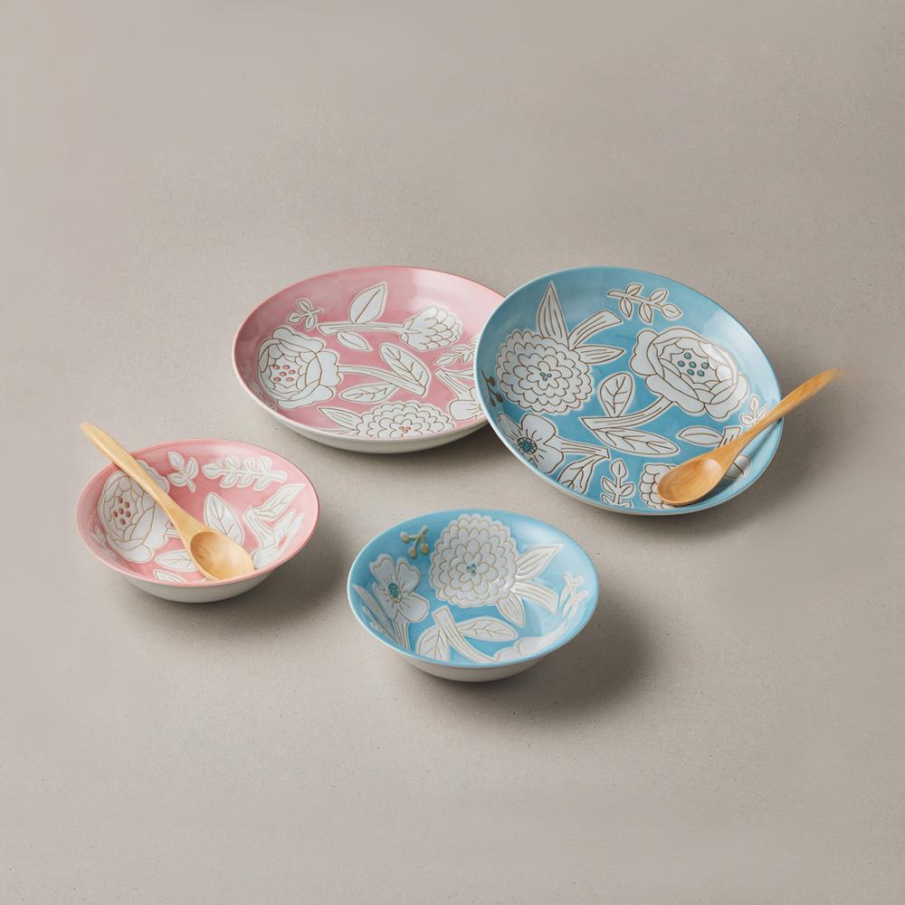日本小倉陶器|粉染花朵碗盤禮盒組-附湯匙 (6件式)
