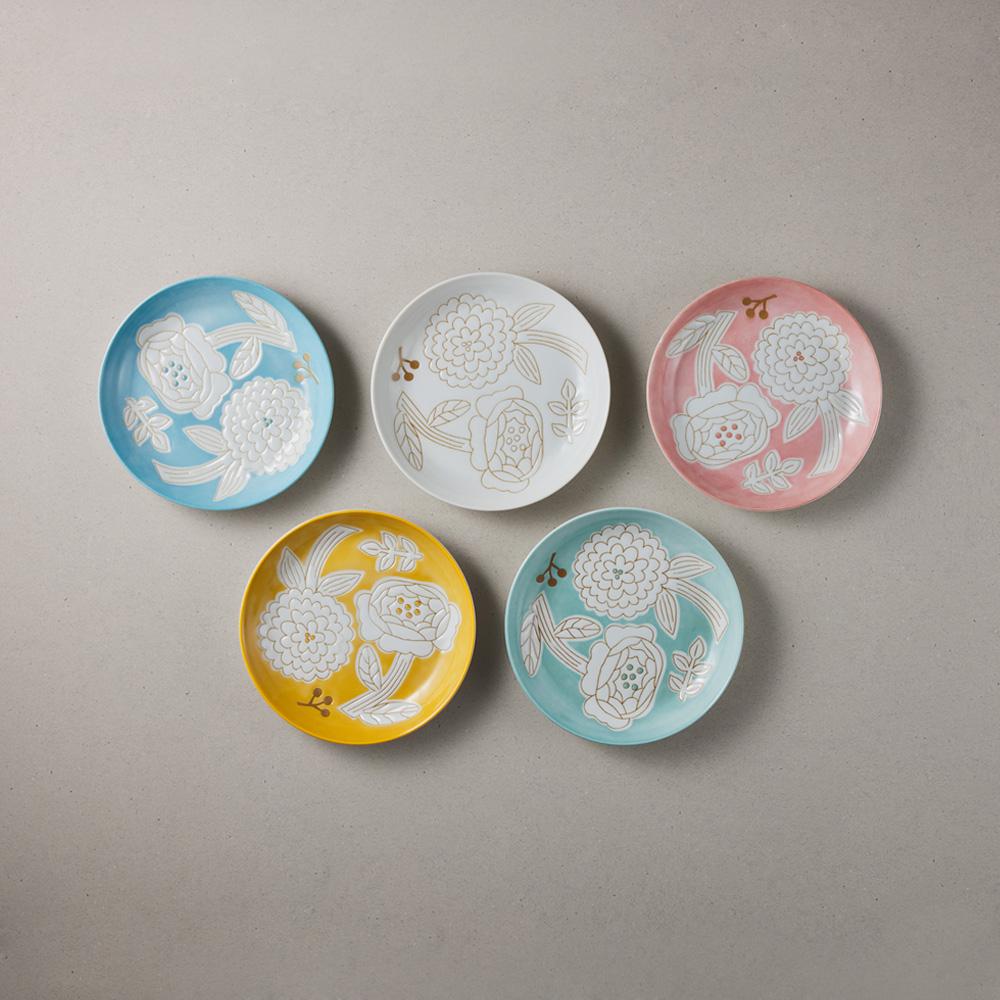 日本小倉陶器|粉染花朵小盤 - 任選3件組 (15.3cm)