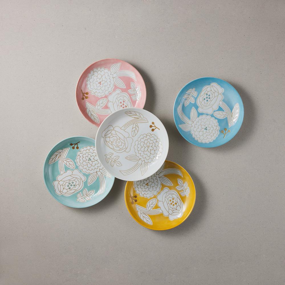 日本小倉陶器|粉染花朵小盤 - 5件組 (15.3cm)