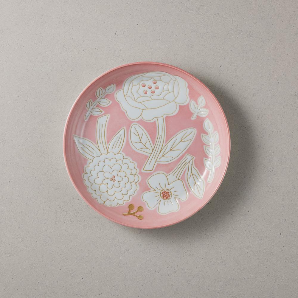 日本小倉陶器|粉染花朵盤-粉色 (19.5cm)