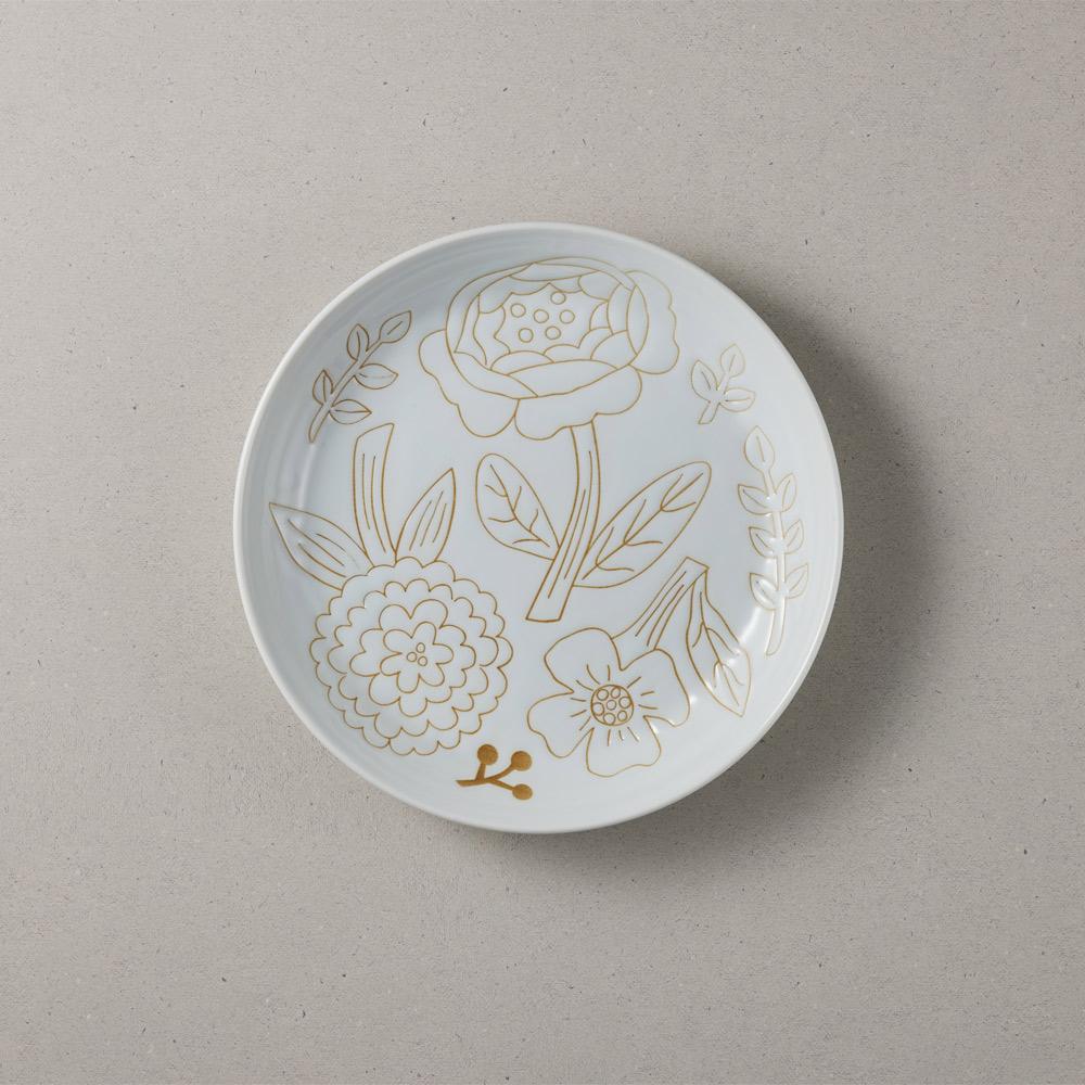 日本小倉陶器 粉染花朵盤 - 純白 (19.5cm)