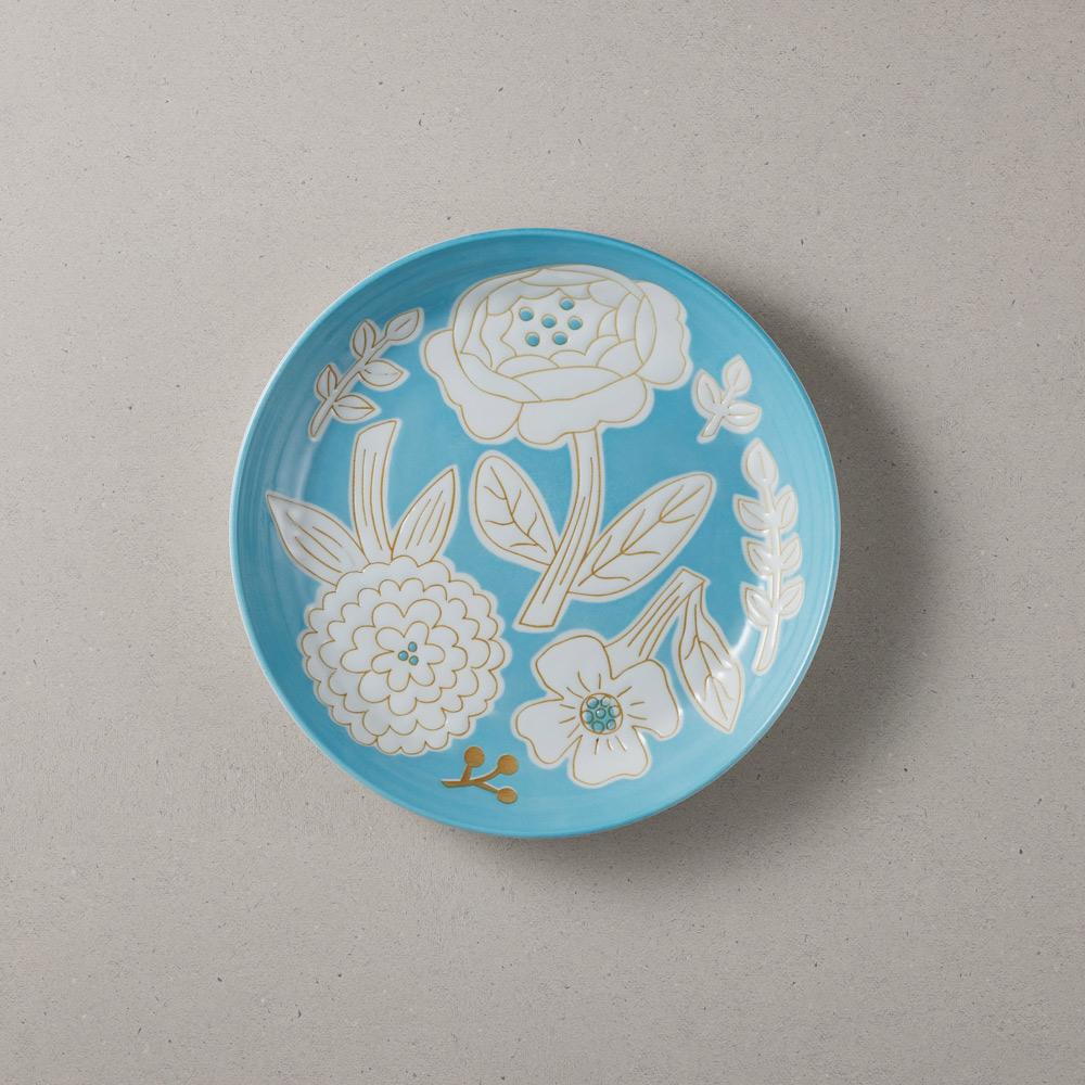 日本小倉陶器 粉染花朵盤 - 海藍色 (19.5cm)